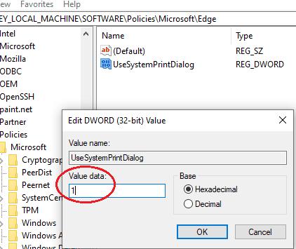 Value 1 created edge reg key