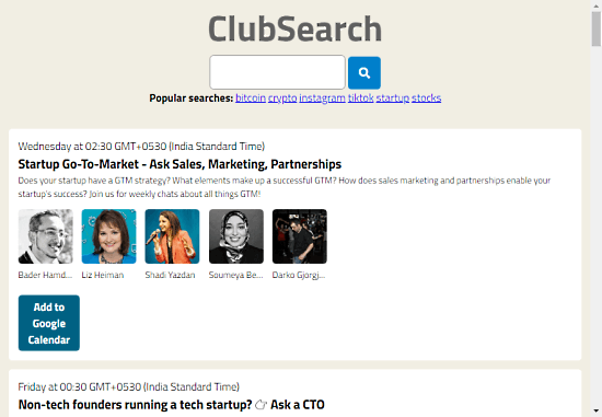 Quickly find Clubhouse rooms about popular topics by searching for keywords