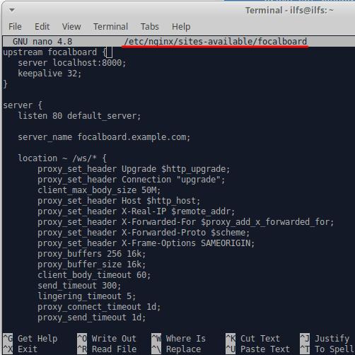 focalboard NGINX configuration