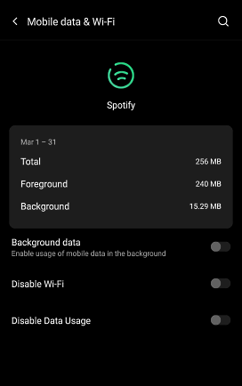 disable background data of app on android