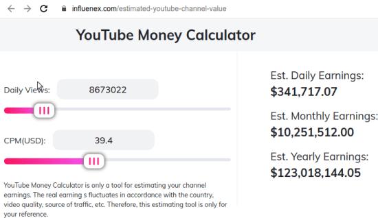 5 YouTube Money Calculator by influenex