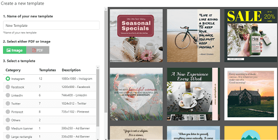 API template choose a template