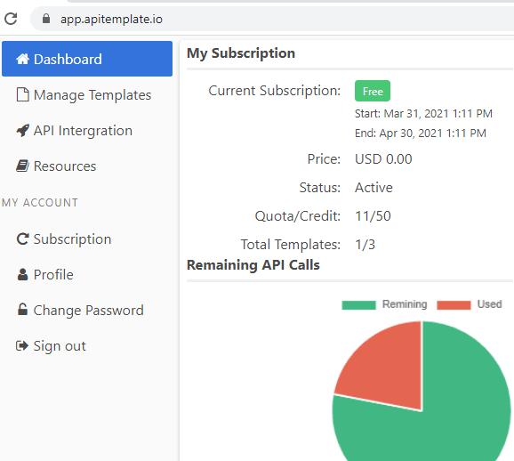 APITemplate dashboard