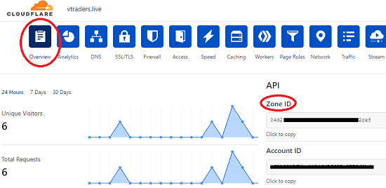 Cloudflare DNS Overview Section Copy Zone ID