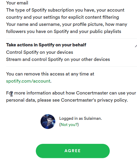 Concertmaster sign in using Spotify