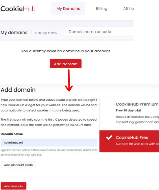 CookieHub Add Domain