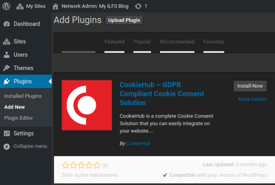 CookieHub Cookie Consent Plugin