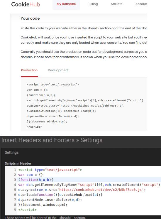 CookieHub embed code