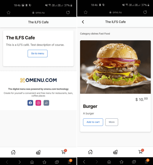 Free Contactless Menu for Restaurant and Cafe: Omenu