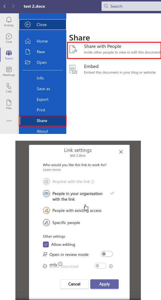 Microsoft Teams Document Collaboration Share Outside Team