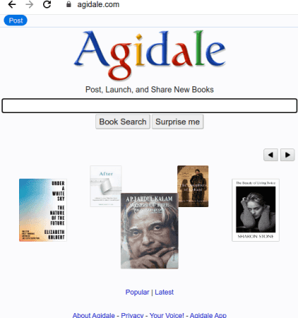 Post, Share, Launch New Books on this Free Website Agidale
