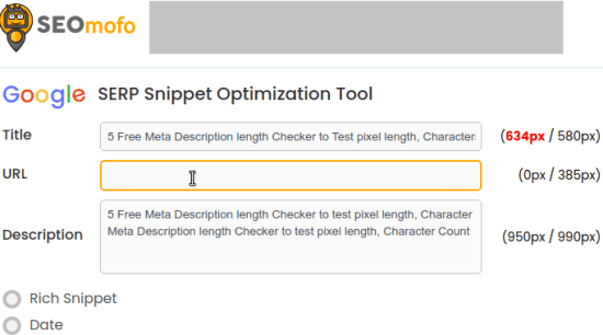 SEOmofo Meta Description Checker