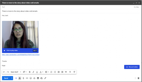 Attach video and compose mail