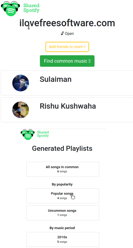 Shared Spotify Common Songs Statistics