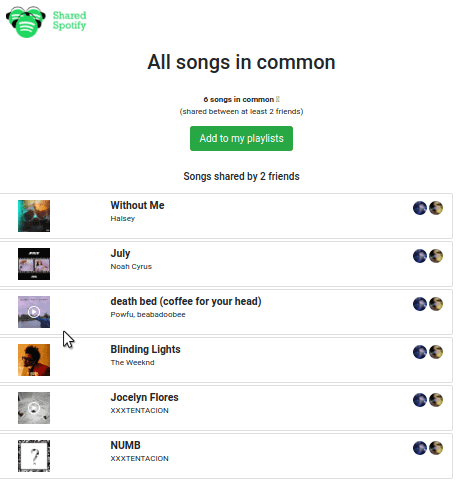 Shared Spotify Common Songs