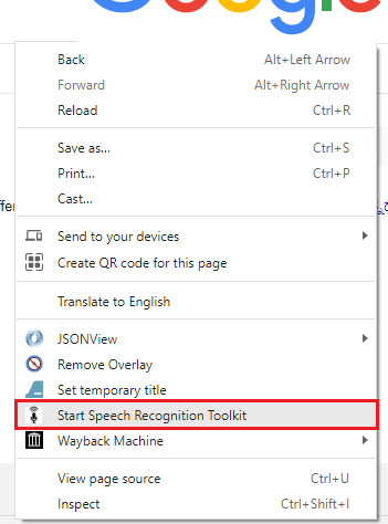 Speech to Text Web Forms Chrome Extension