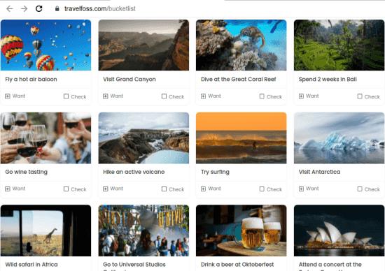 Travelfoss bucketlist