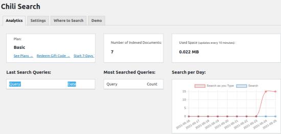 Chili Search Analytics