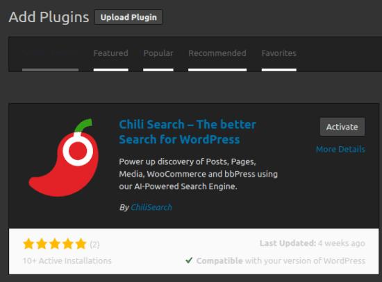 Chili Search Plugin
