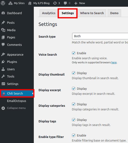 Chili Search Settings