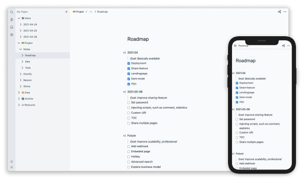 Free Self Hosted Alternative to Notion to Create Pages, Notes: Notea