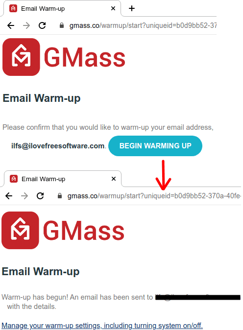 GMass Email Warm Up Sign in and start process