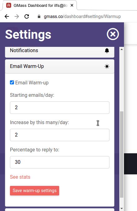 GMass warm up settings