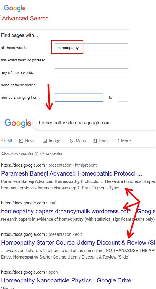Google Advanced Search to find public Google Docs, Slides, Sheets
