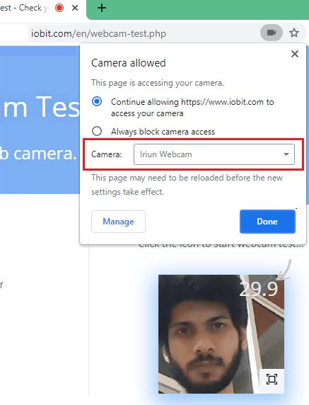 Irinium webcam test in browser