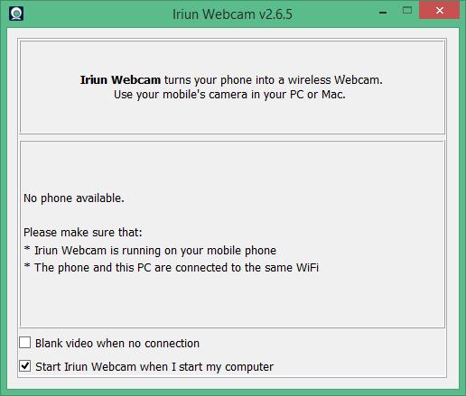 Iriun Webcam Strating UI