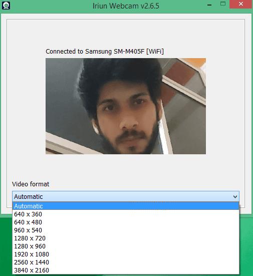 Iriun webcam select resolution