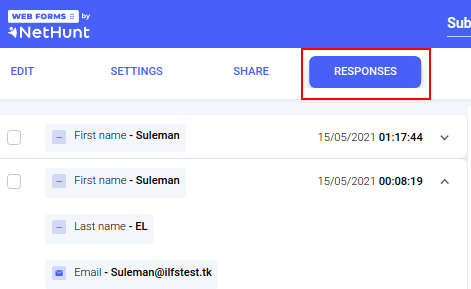 NetHunt Web Forms Responses