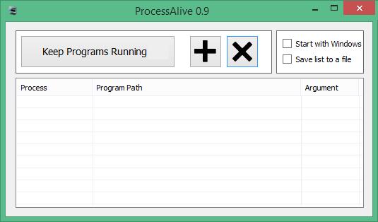 ProcessAlive Main UI