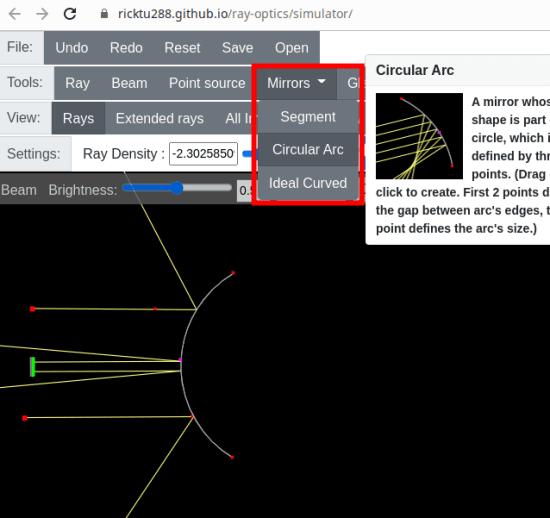 Ray Optics Simulation mirrors