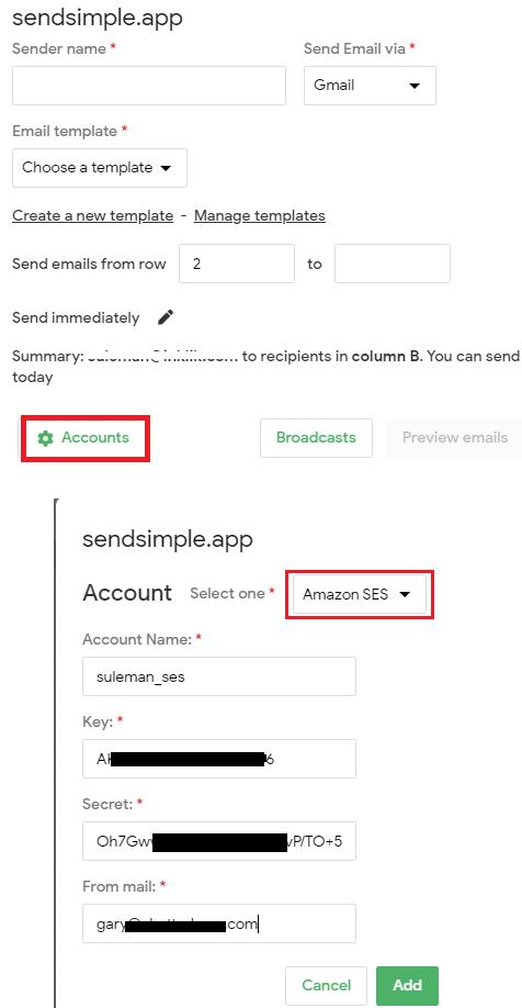 SendSimple SES Configuration