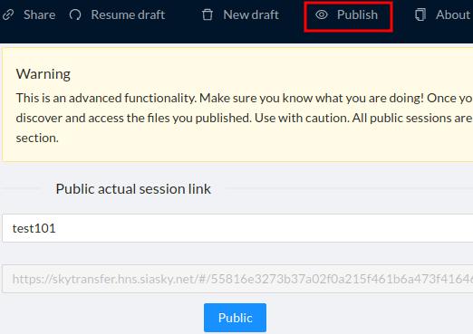 SkyTransfer publish files