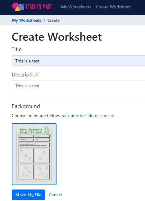 Teacher Made create worksheet