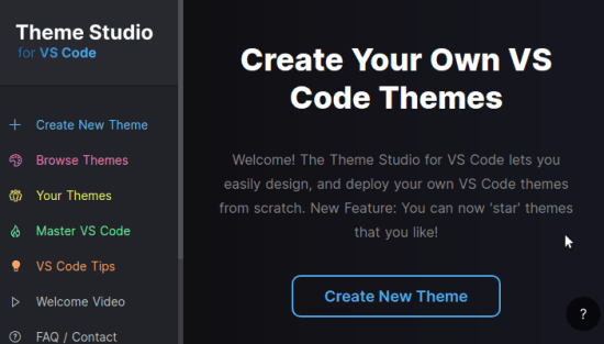 VS Code Theme Studio Main UI