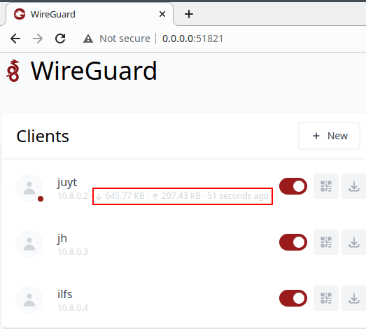WireGuard UI with stats