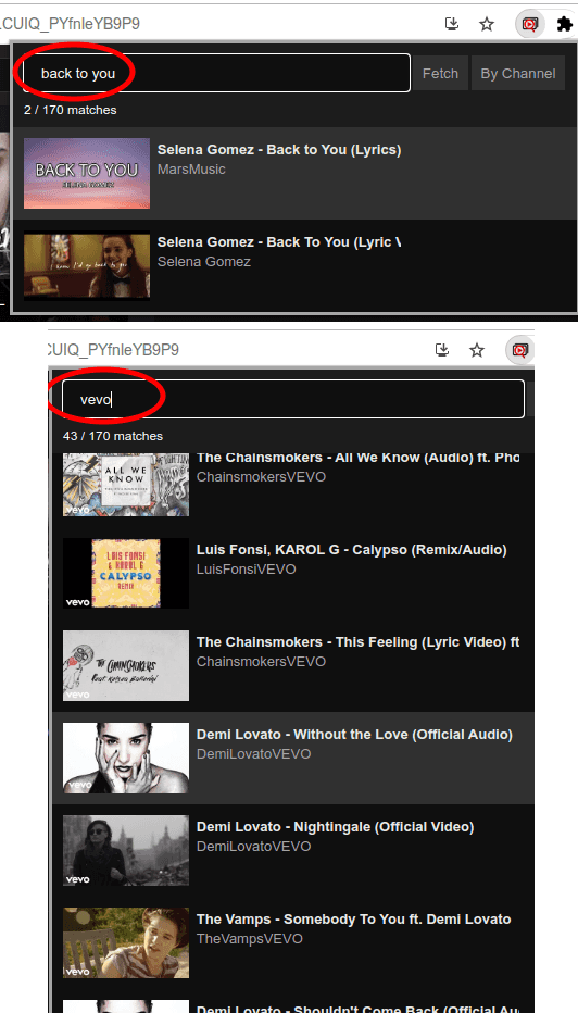 YouTube Playlist Search in action