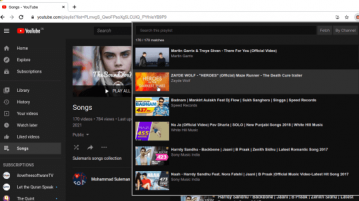 YouTube Playlist Search popup