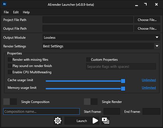 Aerender Launcher main UI