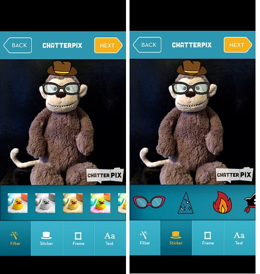 ChatterPix filters and sstickers