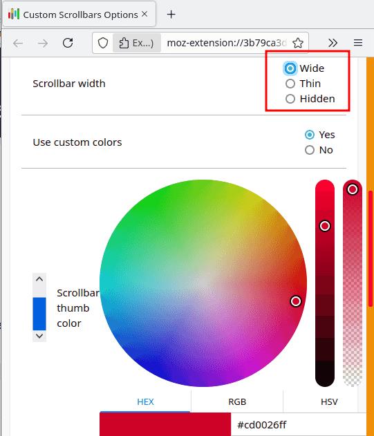 Custom Scrollbars Select Color for Thumb