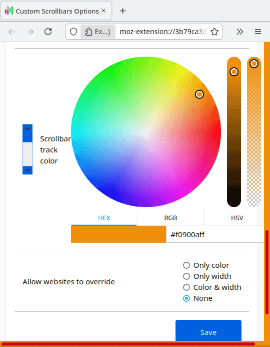 Custom Scrollbars Select Track Color
