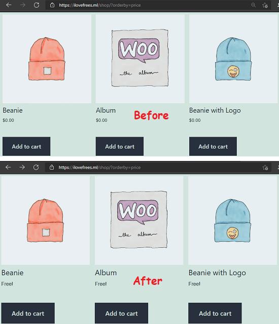 Display Price on WooCommerce as Free Instead of Zero