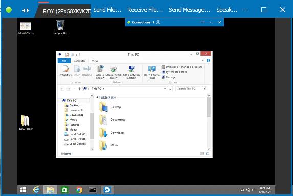 Distant Desktop connected to remote desktop