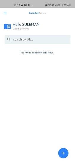FaceAct Notes Main UI