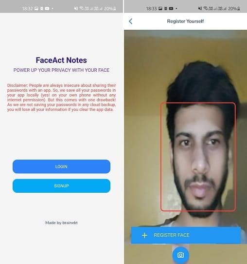 FaceAct Notes Register Face