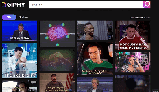 Giphy meme search engine